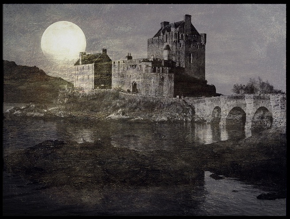 moonrise over castle